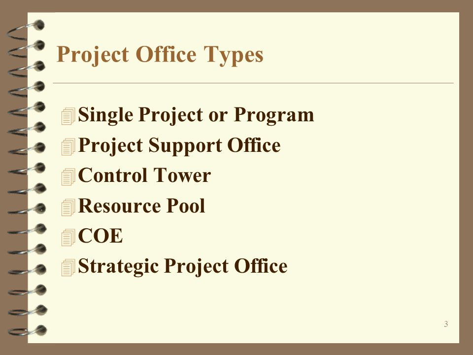 3 Project Office Types 4 Single Project or Program 4 Project Support Office 4 Control Tower 4 Resource Pool 4 COE 4 Strategic Project Office