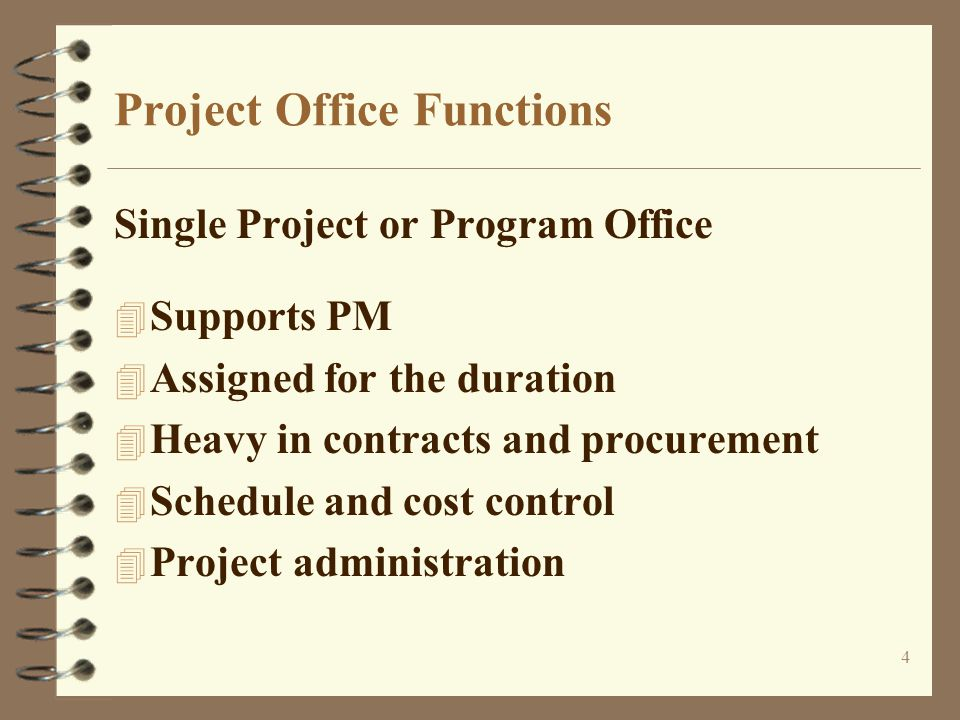 5 Project Office Functions (cont.) Project Support Office (PSO) 4 Milestone reporting 4 Project level cost tracking 4 Action item and issues tracking 4 Reporting metrics 4 Central project library