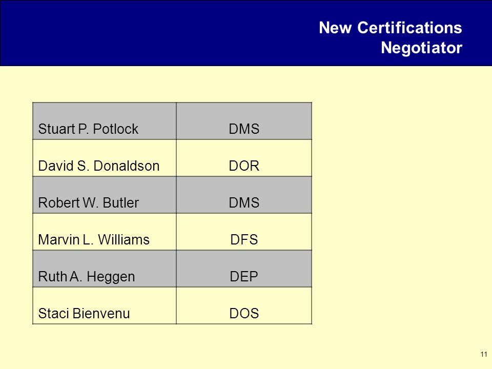 11 New Certifications Negotiator Stuart P. PotlockDMS David S.