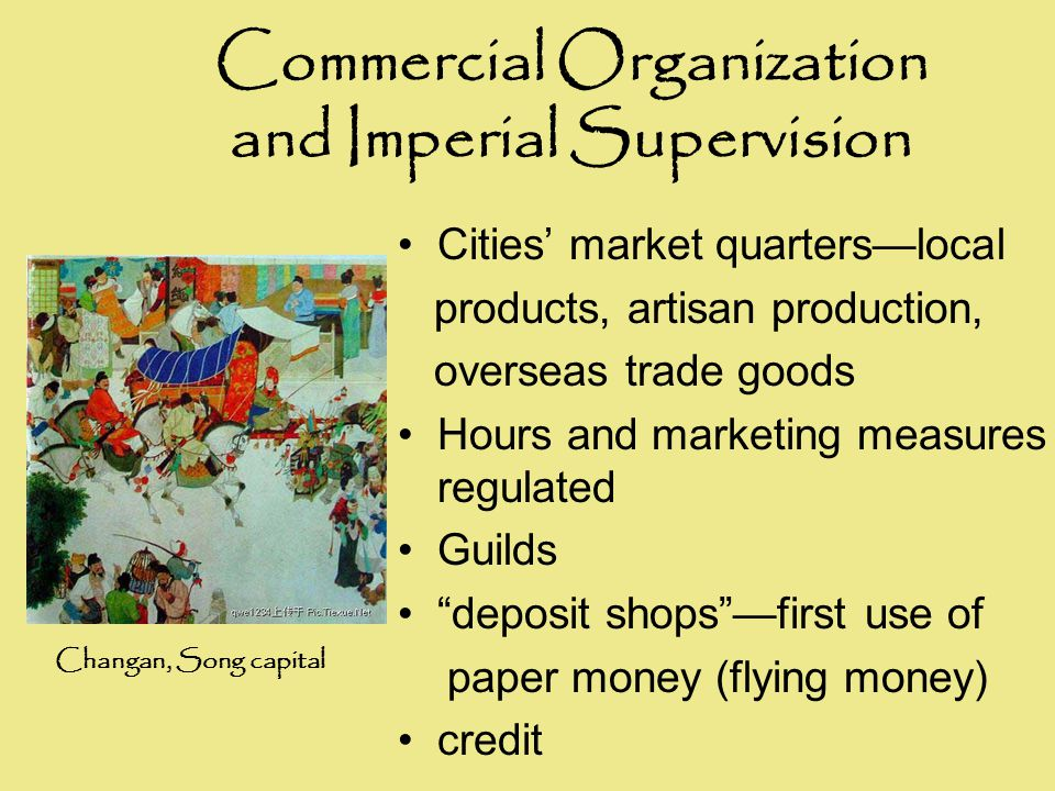 Commercial Organization and Imperial Supervision Cities' market quarters—local products, artisan production, overseas trade goods Hours and marketing