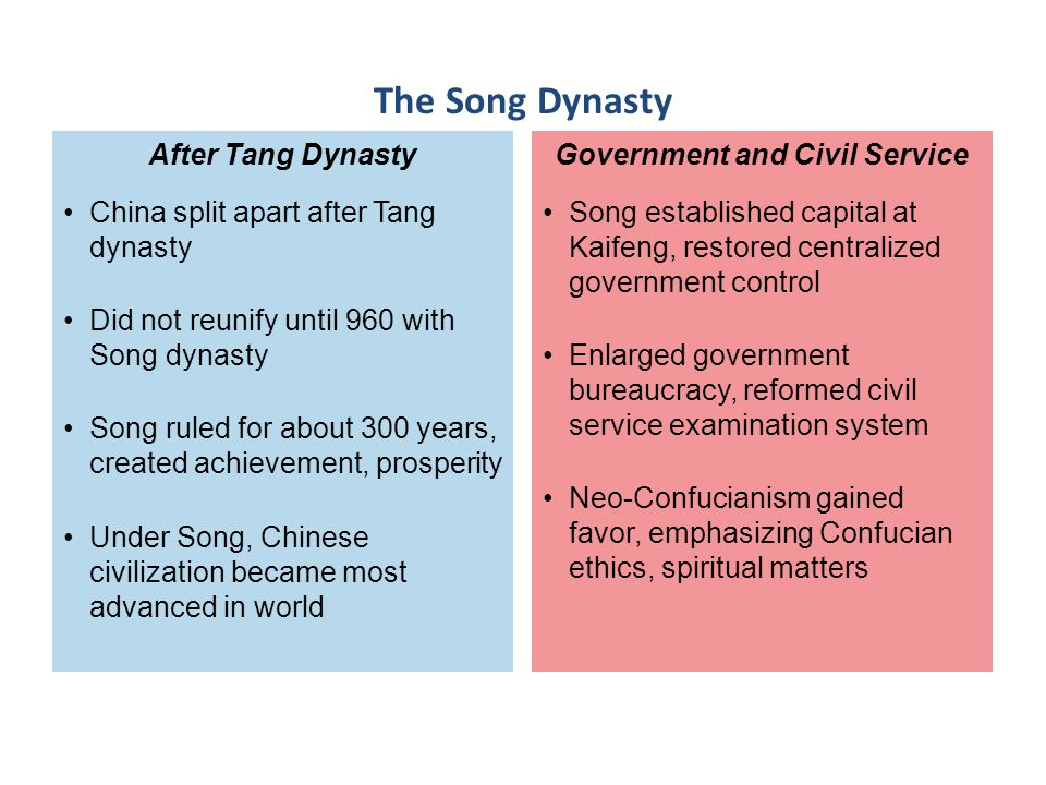 Song established capital at Kaifeng, restored centralized government control Enlarged government bureaucracy, reformed civil service examination syste