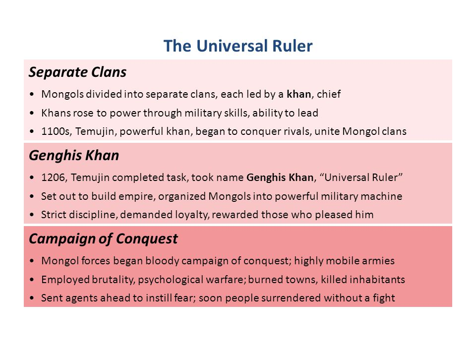 Separate Clans Mongols divided into separate clans, each led by a khan, chief Khans rose to power through military skills, ability to lead 1100s, Temu