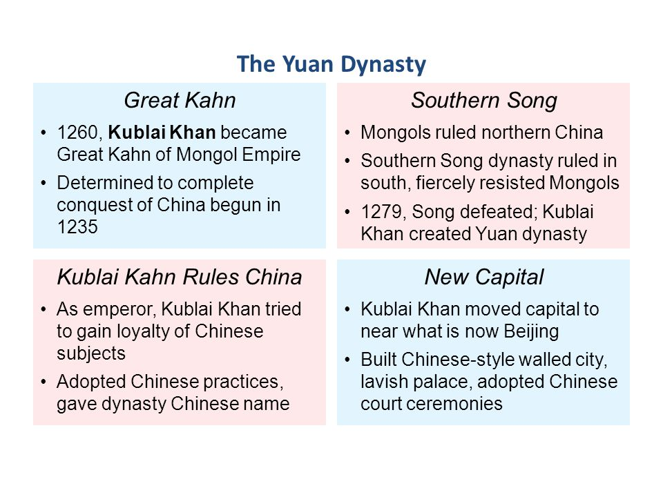 Great Kahn 1260, Kublai Khan became Great Kahn of Mongol Empire Determined to complete conquest of China begun in 1235 Kublai Kahn Rules China As empe