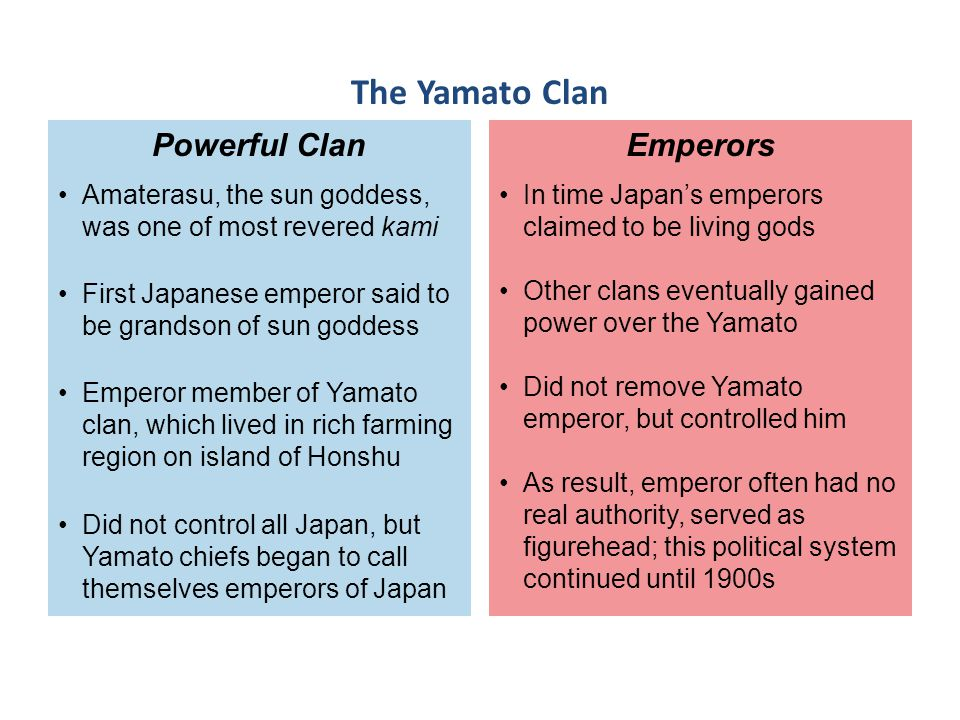 In time Japan's emperors claimed to be living gods Other clans eventually gained power over the Yamato Did not remove Yamato emperor, but controlled h