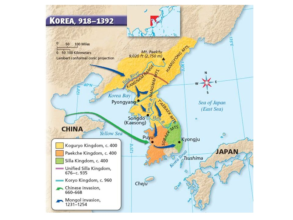 After China's Han dynasty, three rival kingdoms controlled Korea 600s, rulers of one kingdom, Silla, allied with China, conquered rest Silla then turned on Chinese; ruled all Korea by 670 Agreed to pay tribute to China to ensure harmony, good will Embraced many aspects of Chinese civilization, promoted Buddhism, created central government, bureaucracy based on Tang model 935, rebels defeated Silla Kingdom, founded Koryo dynasty, which lasted until 1392 Continued to adopt Chinese ideas, worked for distinct Korean features Civil service exam like China's but only nobles could take test The Koryo Dynasty Society divided between powerful nobility and the rest of the people Culture thrived, artisans created pottery covered with celadon glaze Improved on Chinese woodblock printing, created moveable type Printed Buddhist texts Society, Culture Silla