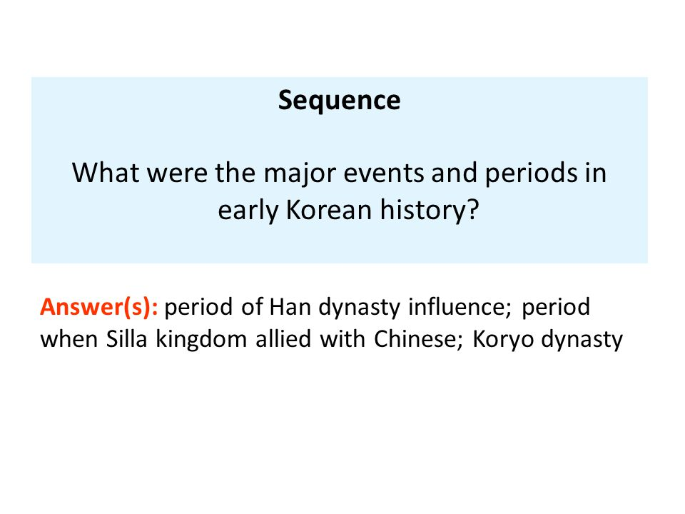 Sequence What were the major events and periods in early Korean history? Answer(s): period of Han dynasty influence; period when Silla kingdom allied