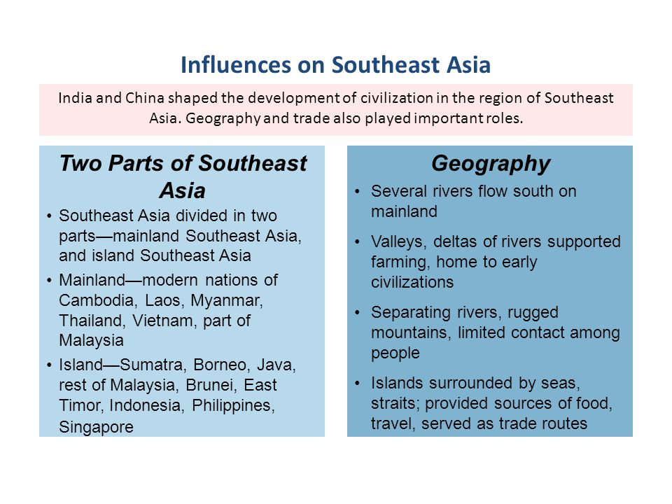 India and China shaped the development of civilization in the region of Southeast Asia. Geography and trade also played important roles. Southeast Asi