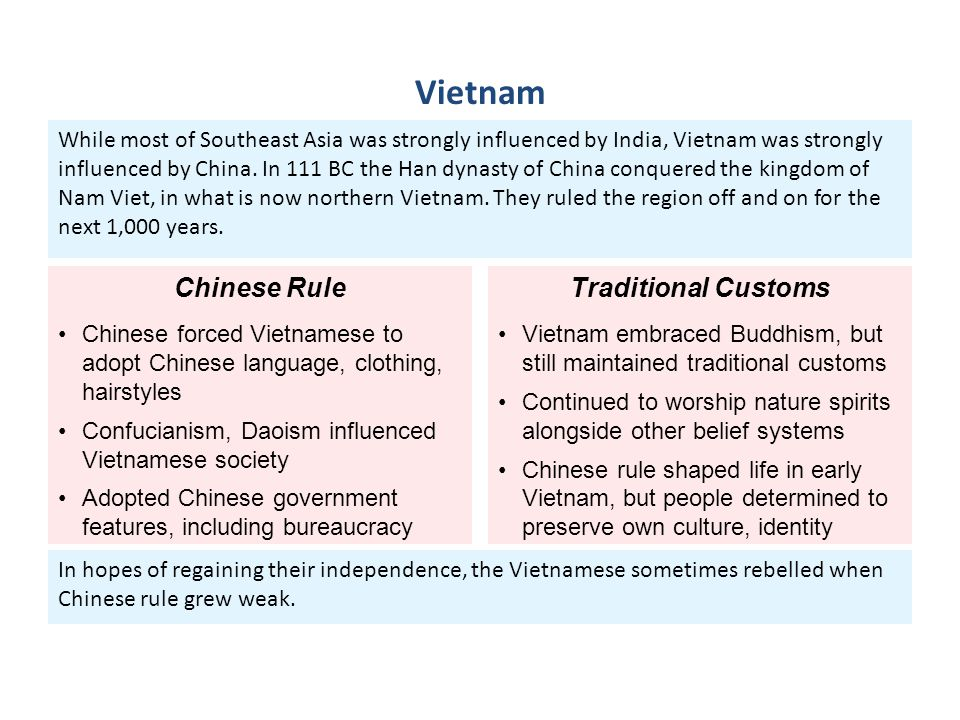 In hopes of regaining their independence, the Vietnamese sometimes rebelled when Chinese rule grew weak. While most of Southeast Asia was strongly inf