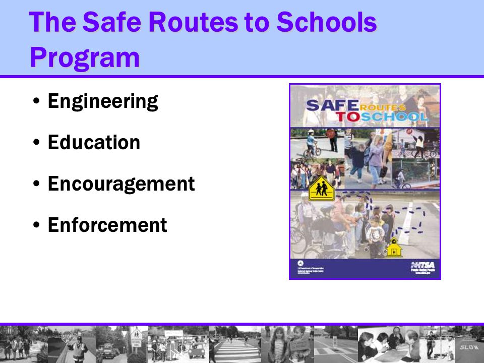 Funding Marin County Bicycle Coalition 2000 – 9 Schools $600 (Town of Fairfax) $25,000 (CADHS) $25,000 (MCF) $50,000 (NHTSA) County Adopts the program 2001 14 schools $175,000 (Foundations) 2002 24 schools $310,000 (Enhancements) 2003 26 schools 2004 37 schools $500,000 (TFCA) 2005 50 schools (Sales Tax)
