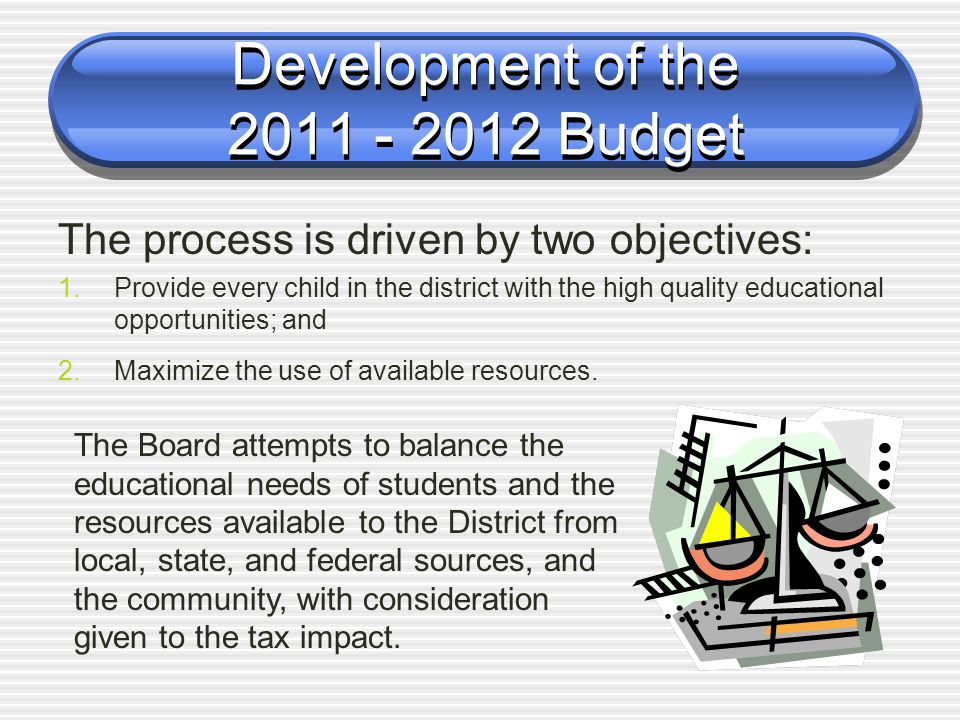 Development of the 2011 - 2012 Budget The process is driven by two objectives: 1.Provide every child in the district with the high quality educational opportunities; and 2.Maximize the use of available resources.
