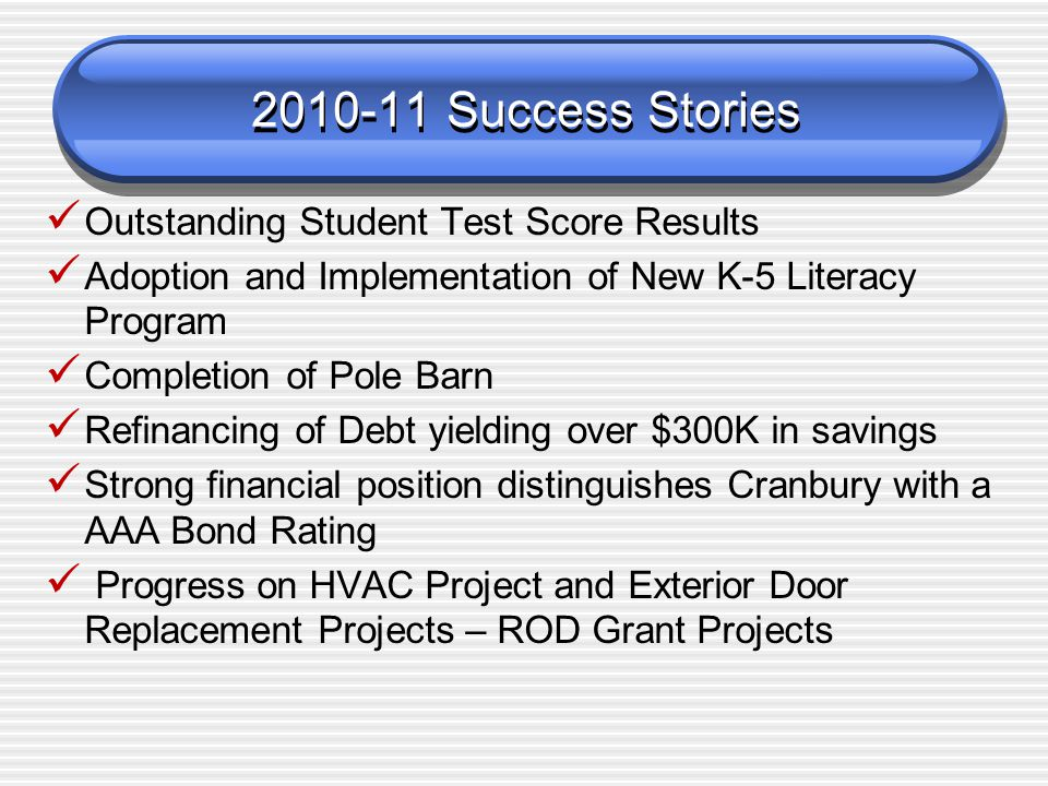 2010-11 Success Stories Outstanding Student Test Score Results Adoption and Implementation of New K-5 Literacy Program Completion of Pole Barn Refinancing of Debt yielding over $300K in savings Strong financial position distinguishes Cranbury with a AAA Bond Rating Progress on HVAC Project and Exterior Door Replacement Projects – ROD Grant Projects