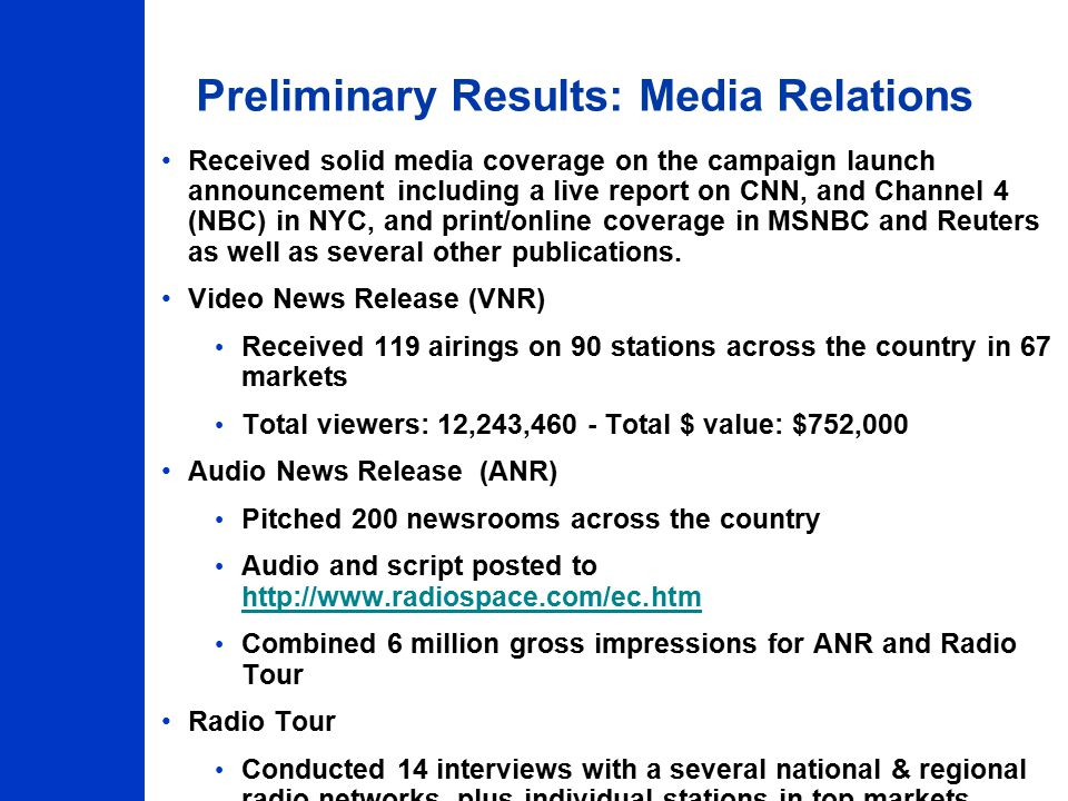 Preliminary Results: Media Relations Received solid media coverage on the campaign launch announcement including a live report on CNN, and Channel 4 (NBC) in NYC, and print/online coverage in MSNBC and Reuters as well as several other publications.