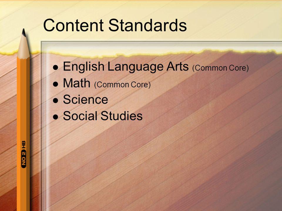 Content Standards English Language Arts (Common Core) Math (Common Core) Science Social Studies