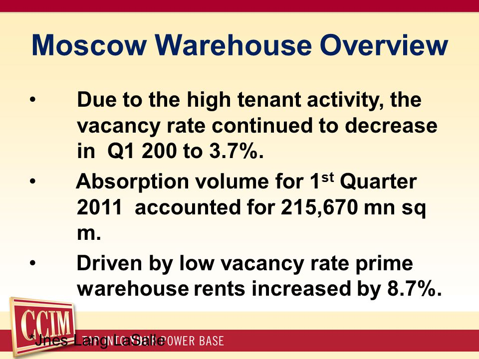 Moscow Warehouse Overview Due to the high tenant activity, the vacancy rate continued to decrease in Q1 200 to 3.7%.