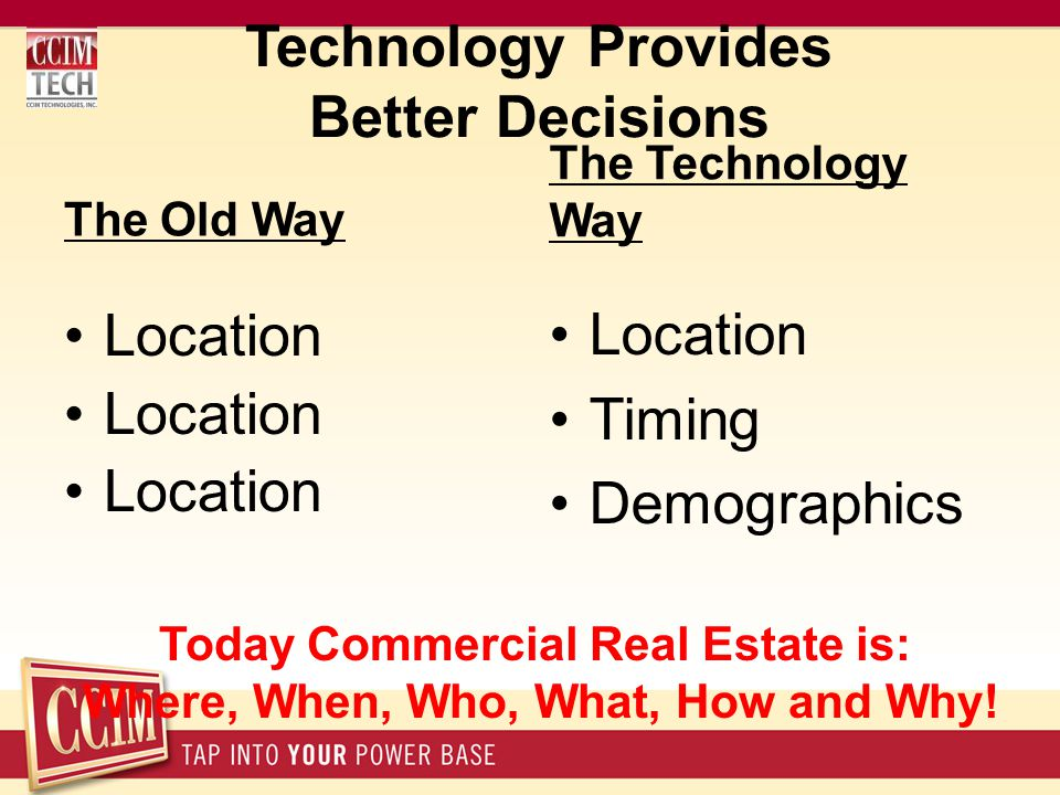 Technology Provides Better Decisions The Old Way Location The Technology Way Location Timing Demographics Today Commercial Real Estate is: Where, When