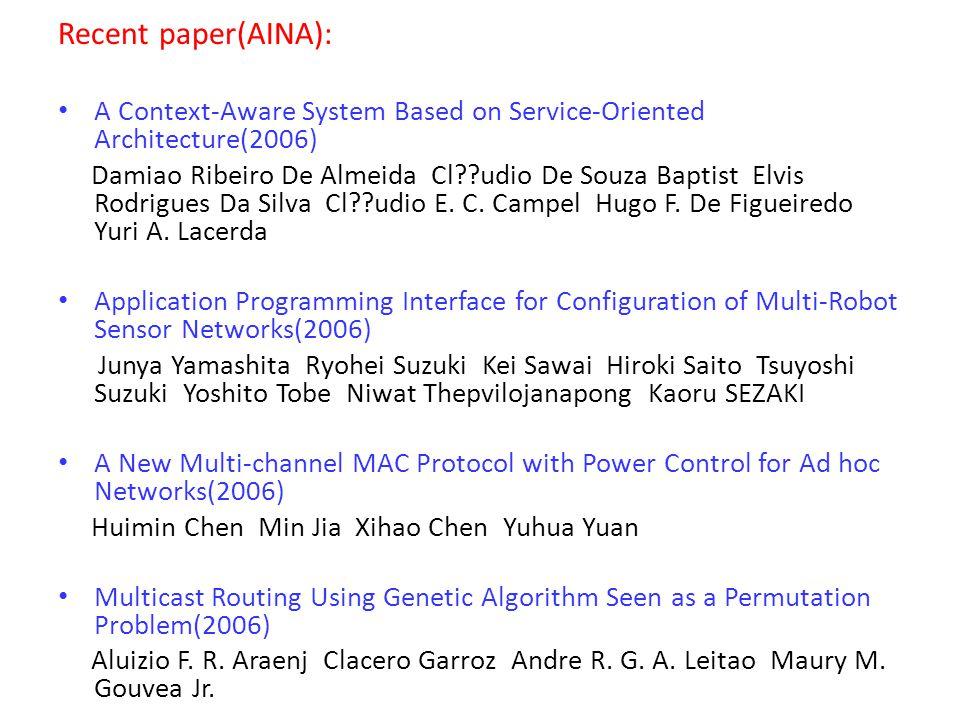Recent paper(AINA): A Context-Aware System Based on Service-Oriented Architecture(2006) Damiao Ribeiro De Almeida Cl udio De Souza Baptist Elvis Rodrigues Da Silva Cl udio E.