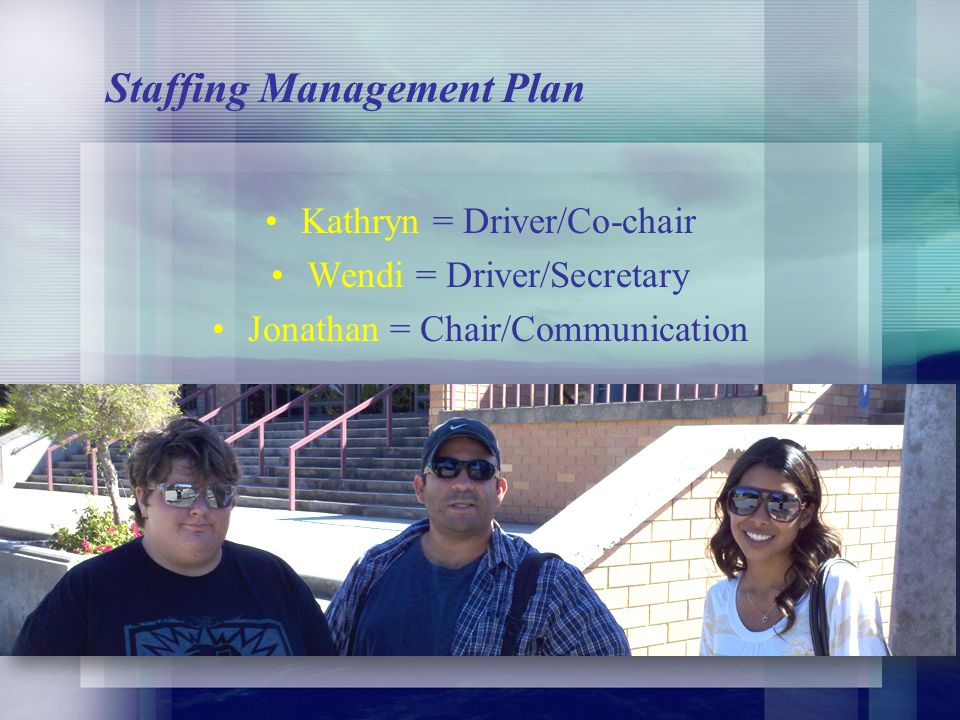 Staffing Management Plan Kathryn = Driver/Co-chair Wendi = Driver/Secretary Jonathan = Chair/Communication