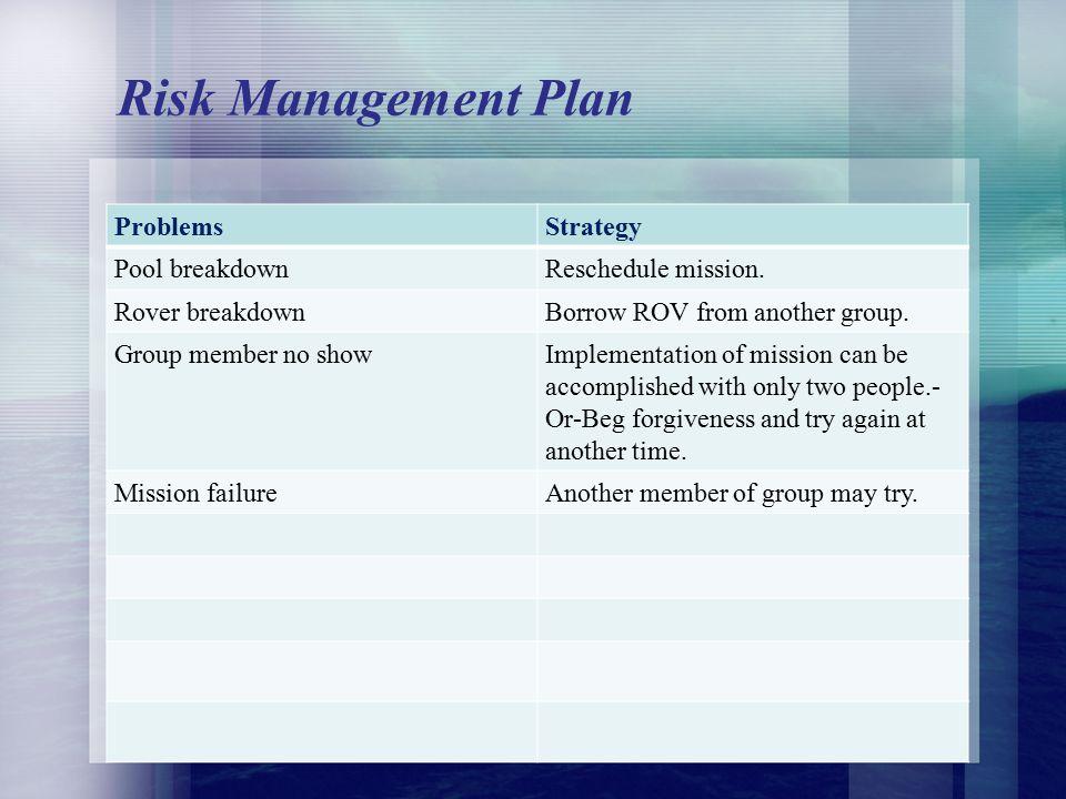 Risk Management Plan ProblemsStrategy Pool breakdownReschedule mission.