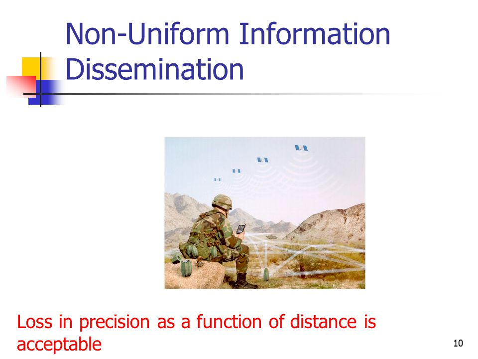 10 Non-Uniform Information Dissemination Loss in precision as a function of distance is acceptable