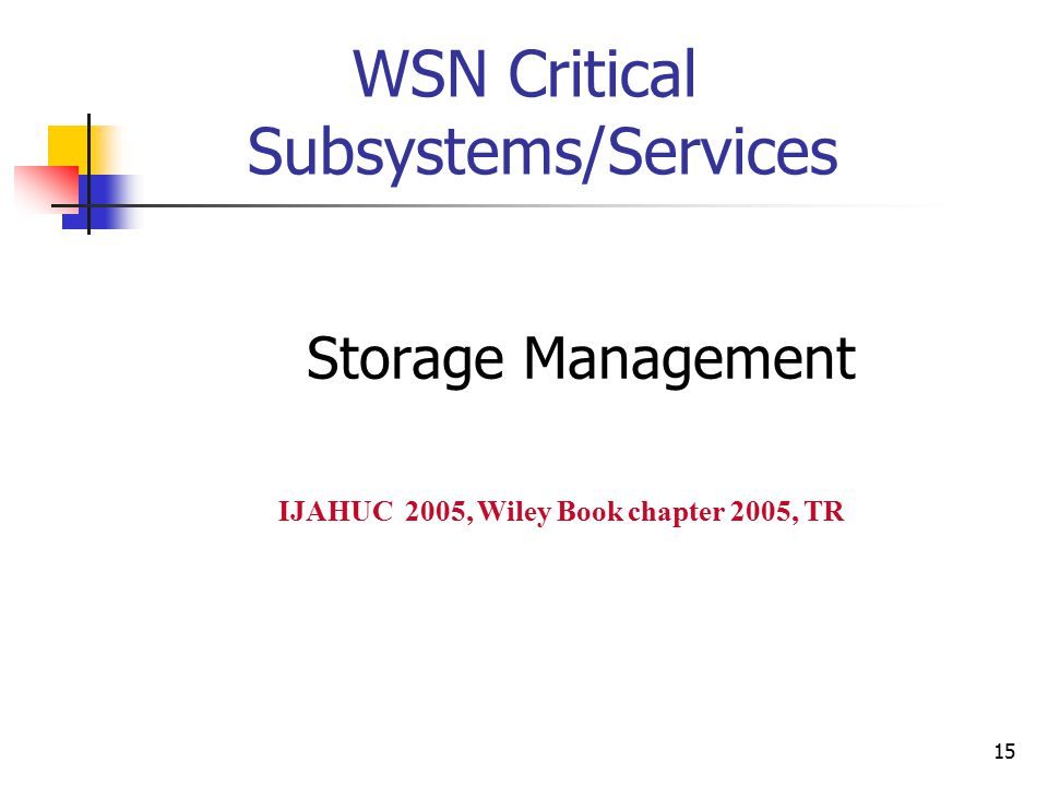 15 WSN Critical Subsystems/Services Storage Management IJAHUC 2005, Wiley Book chapter 2005, TR