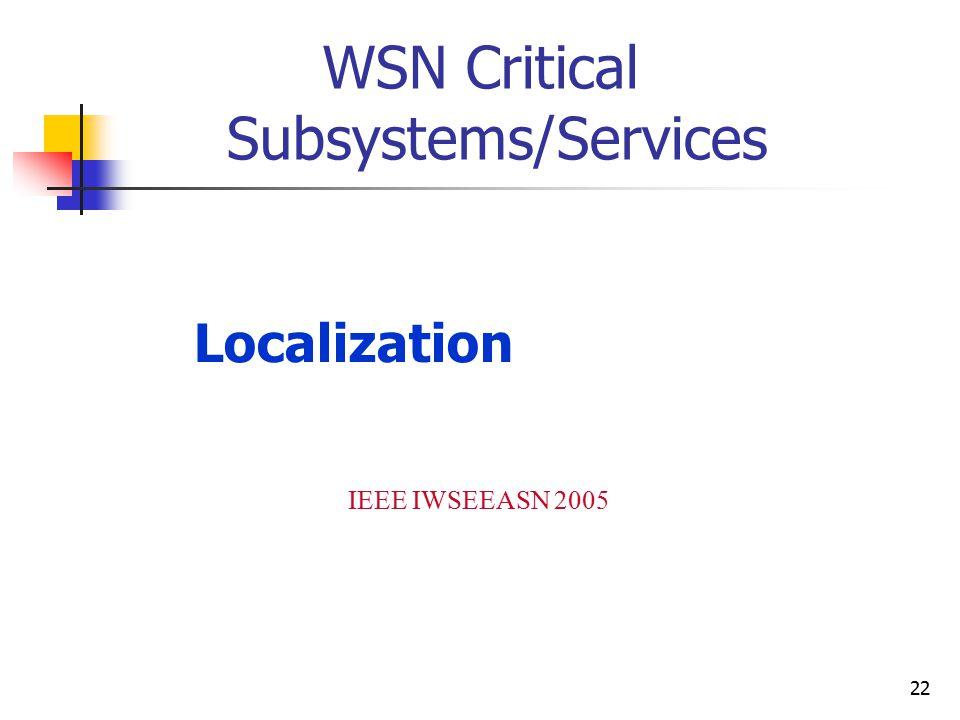 22 Localization IEEE IWSEEASN 2005 WSN Critical Subsystems/Services