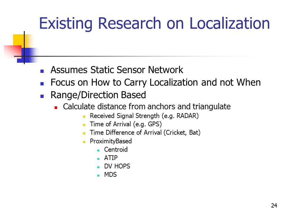 24 Existing Research on Localization Assumes Static Sensor Network Focus on How to Carry Localization and not When Range/Direction Based Calculate dis