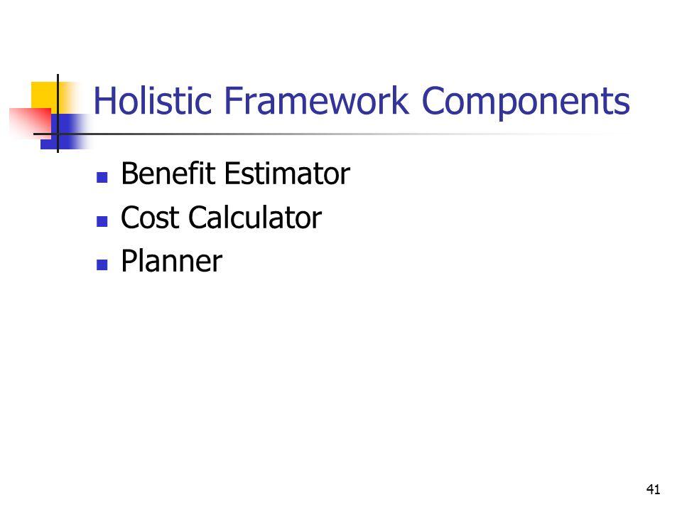41 Holistic Framework Components Benefit Estimator Cost Calculator Planner