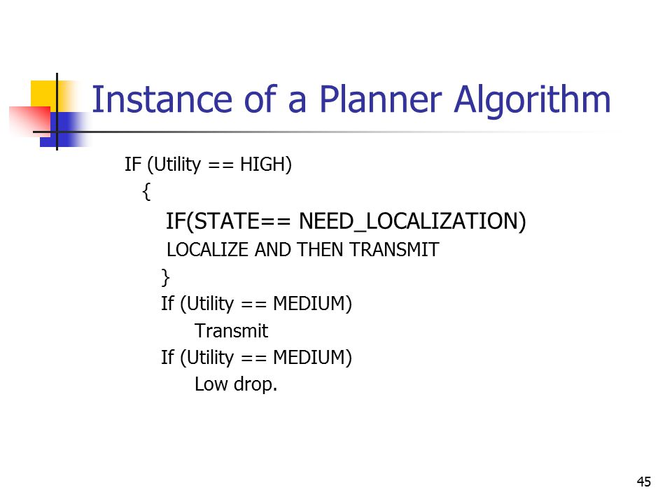 45 Instance of a Planner Algorithm IF (Utility == HIGH) { IF(STATE== NEED_LOCALIZATION) LOCALIZE AND THEN TRANSMIT } If (Utility == MEDIUM) Transmit I