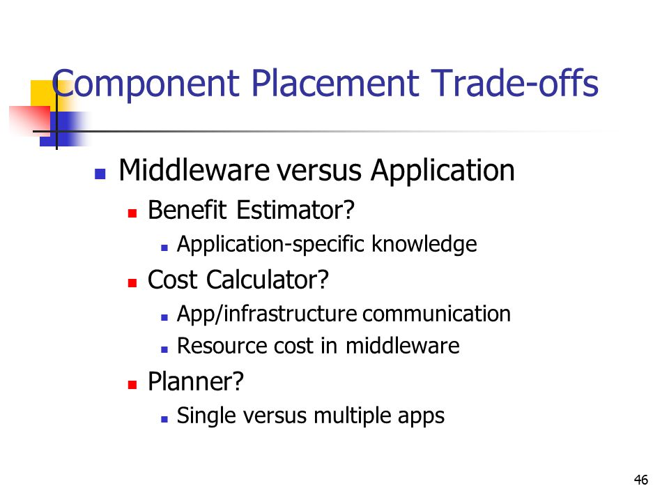 46 Component Placement Trade-offs Middleware versus Application Benefit Estimator? Application-specific knowledge Cost Calculator? App/infrastructure