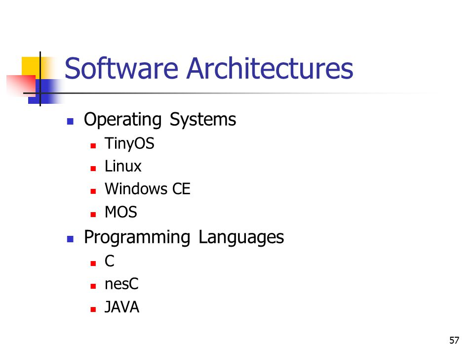 57 Software Architectures Operating Systems TinyOS Linux Windows CE MOS Programming Languages C nesC JAVA