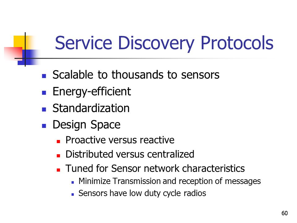 60 Service Discovery Protocols Scalable to thousands to sensors Energy-efficient Standardization Design Space Proactive versus reactive Distributed ve