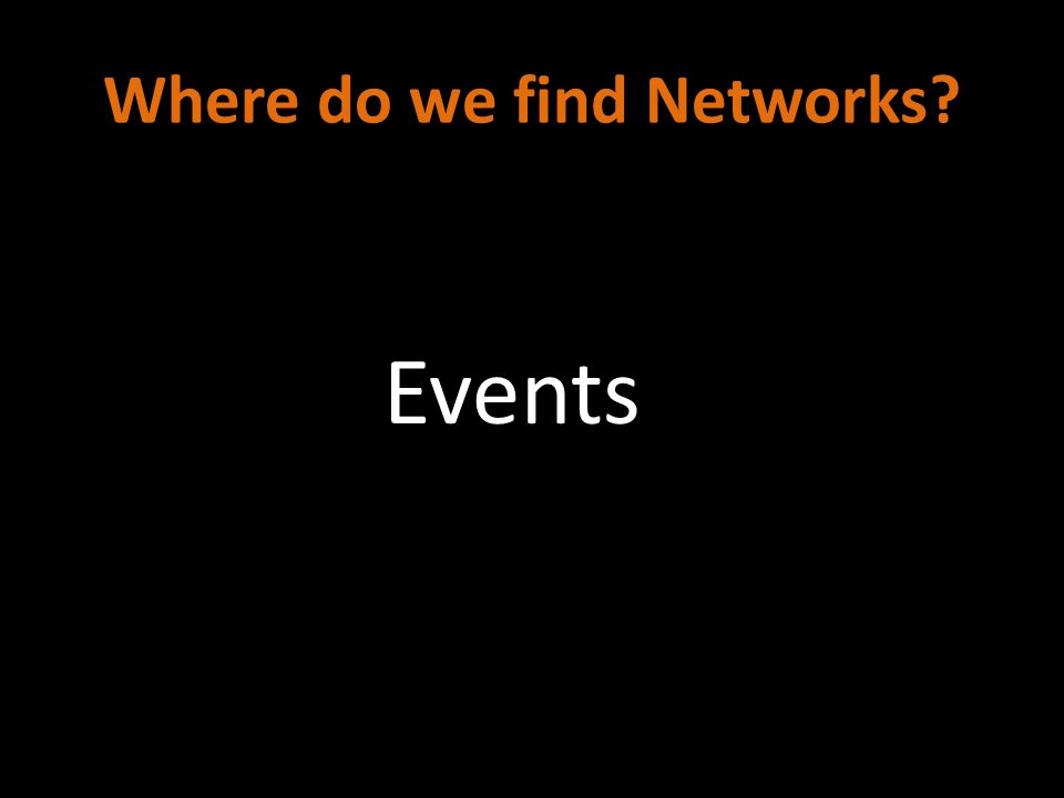 Where do we find Networks? Events
