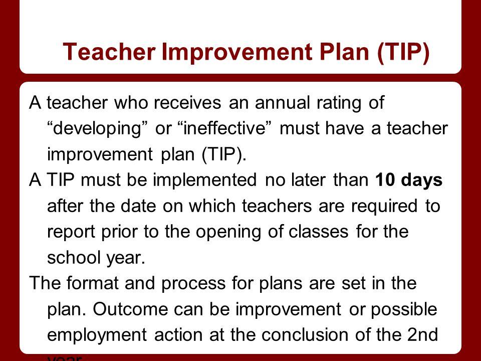 Teacher Improvement Plan (TIP) A teacher who receives an annual rating of developing or ineffective must have a teacher improvement plan (TIP).
