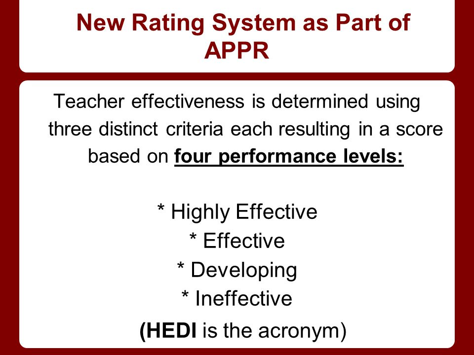 New Rating System as Part of APPR Teacher effectiveness is determined using three distinct criteria each resulting in a score based on four performance levels: * Highly Effective * Effective * Developing * Ineffective (HEDI is the acronym)