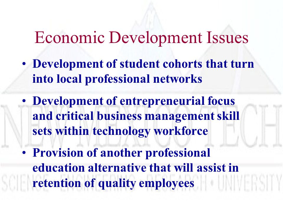 Economic Development Issues Development of student cohorts that turn into local professional networks Development of entrepreneurial focus and critical business management skill sets within technology workforce Provision of another professional education alternative that will assist in retention of quality employees
