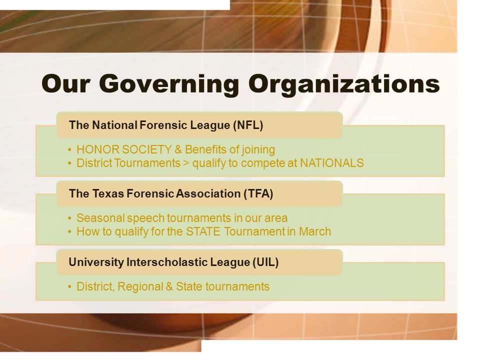 Our Governing Organizations HONOR SOCIETY & Benefits of joining District Tournaments > qualify to compete at NATIONALS The National Forensic League (N