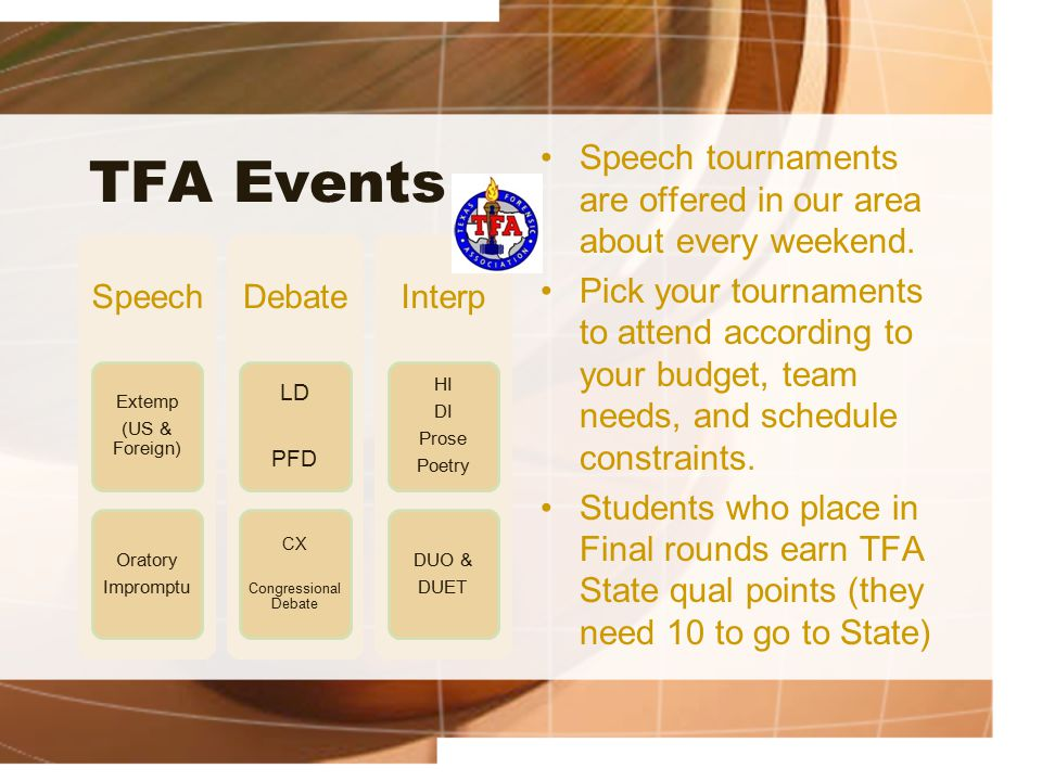 TFA Events Speech Extemp (US & Foreign) Oratory Impromptu Debate LD PFD CX Congressional Debate Interp HI DI Prose Poetry DUO & DUET Speech tournaments are offered in our area about every weekend.