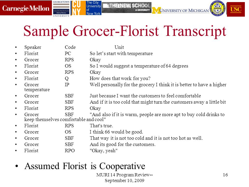 MURI 14 Program Review-- September 10, 2009 16 Sample Grocer-Florist Transcript SpeakerCodeUnit FloristPCSo let's start with temperature GrocerRPSOkay FloristOSSo I would suggest a temperature of 64 degrees GrocerRPSOkay FloristQHow does that work for you.