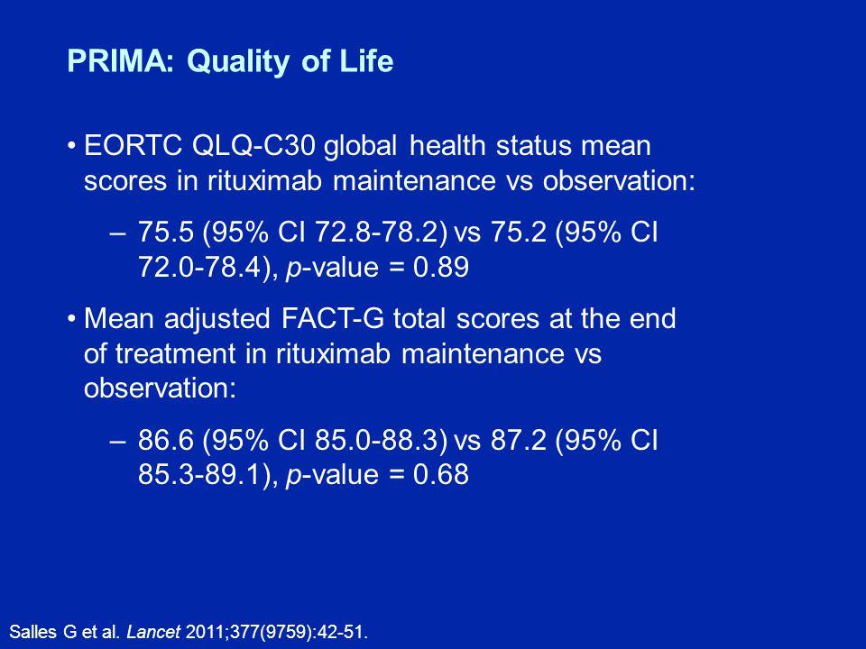 PRIMA: Quality of Life Salles G et al. Lancet 2011;377(9759):42-51.