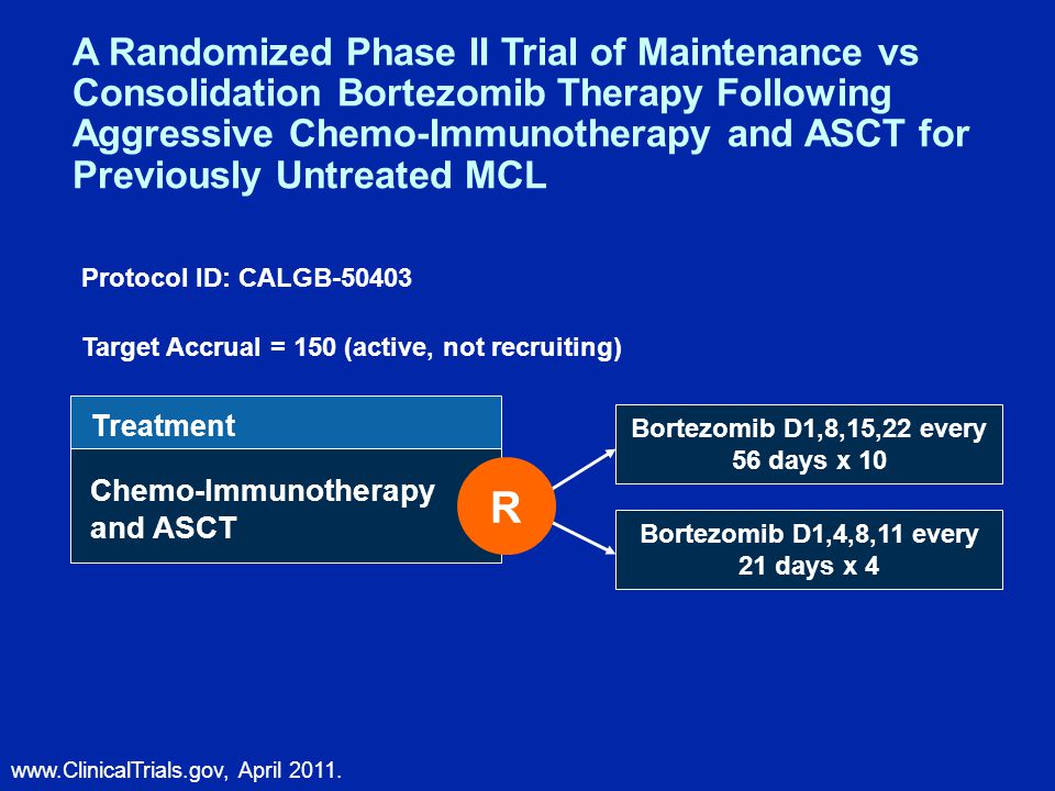 Treatment Chemo-Immunotherapy and ASCT Bortezomib D1,8,15,22 every 56 days x 10 Bortezomib D1,4,8,11 every 21 days x 4 A Randomized Phase II Trial of Maintenance vs Consolidation Bortezomib Therapy Following Aggressive Chemo-Immunotherapy and ASCT for Previously Untreated MCL Target Accrual = 150 (active, not recruiting) www.ClinicalTrials.gov, April 2011.