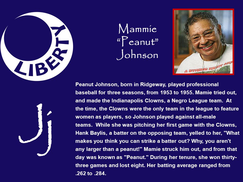 Peanut Johnson, born in Ridgeway, played professional baseball for three seasons, from 1953 to 1955.