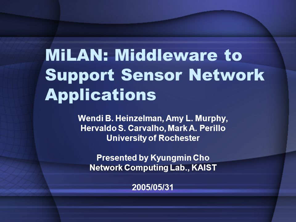 Network Computing Lab., KAIST 22 Motivation Sensor Network Application Sensor Network Dynamic Availability Energy Constrained Distributed State-based Quality of Information Limited Bandwidth Middleware - MiLAN