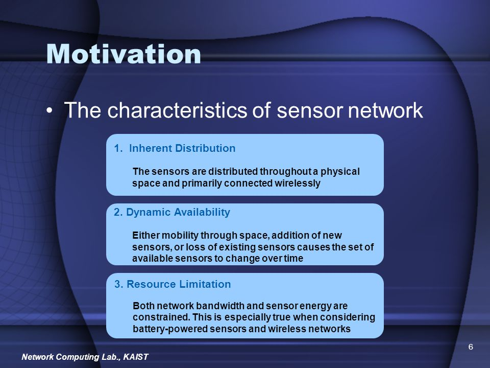 Network Computing Lab., KAIST 17 Critique Strong Points –Application QoS requirement is actively reflected in the network and sensors Middleware control sensor network directly –Application QoS is specified at each different states of monitored objects Weak Points –MiLAN approach is not appropriate when there are a lot of sensors MiLAN should know a lot of information about each sensors Available energy, role of each sensor, network connectivity, etc.