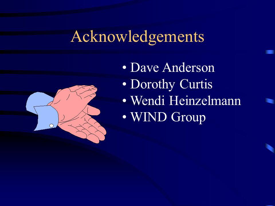 Acknowledgements Dave Anderson Dorothy Curtis Wendi Heinzelmann WIND Group