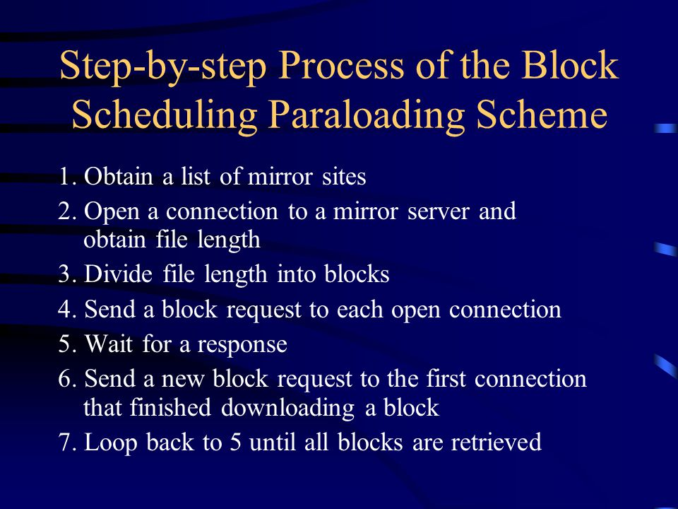 Step-by-step Process of the Block Scheduling Paraloading Scheme 1.
