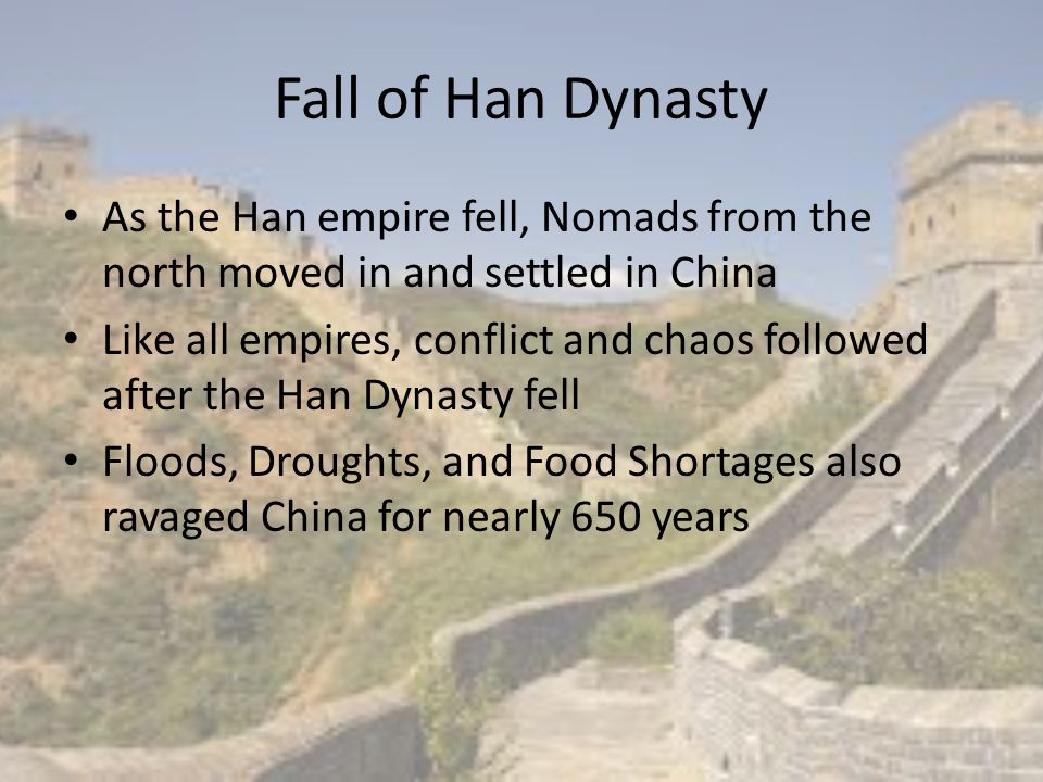 The Sui (sway) Dynasty By 589 CE, Yang Jian conquered the south and reunified China as one Empire He took power by killing the heir to the Zhou throne, his grandson along with 59 princes Yang Jian soon become known as Wendi and was the first emperor of the Sui Dynasty