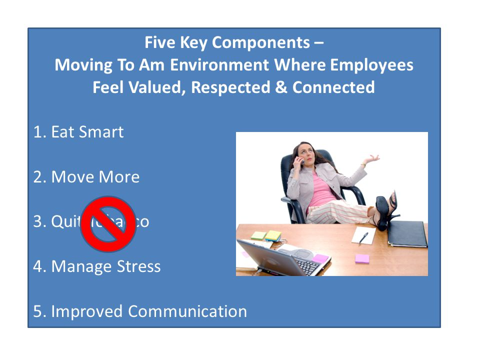 Five Key Components – Moving To Am Environment Where Employees Feel Valued, Respected & Connected 1.Eat Smart 2.Move More 3.Quit Tobacco 4.Manage Stre
