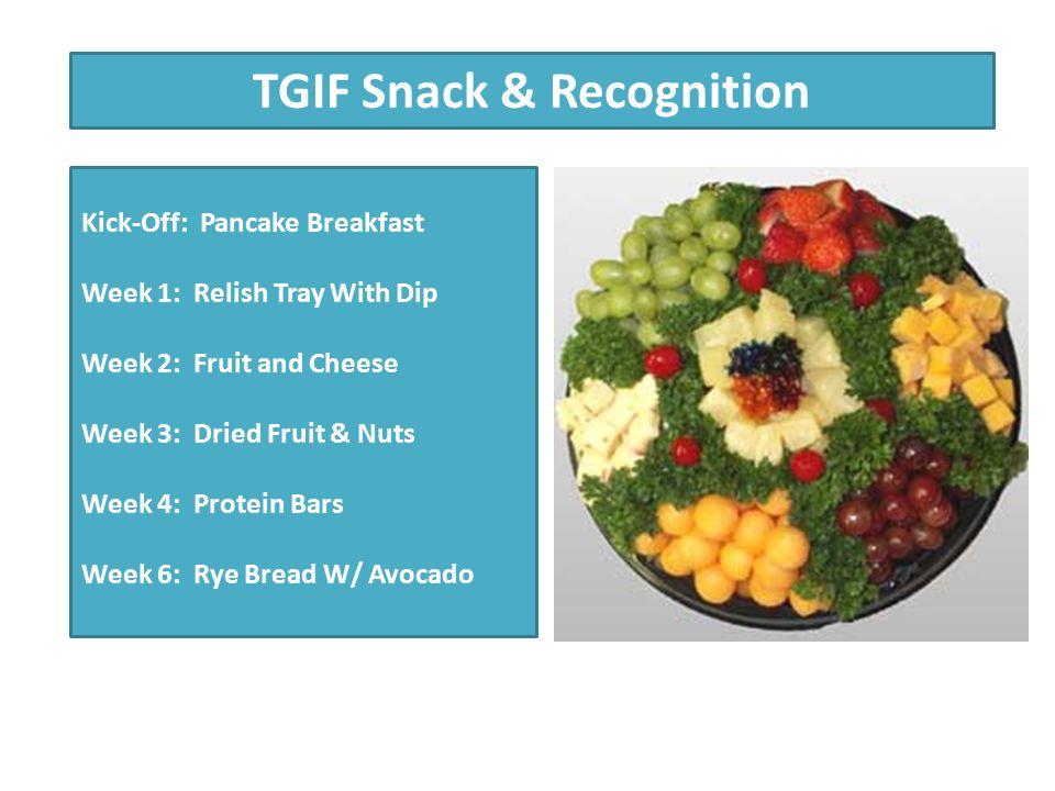 Healthy Meeting Policies Beverages: Water 100% Fruit or Vegetables Green Tea Snacks: Whole Grain Crackers Salsa & Blue Corn Chips In-Season Vegetables