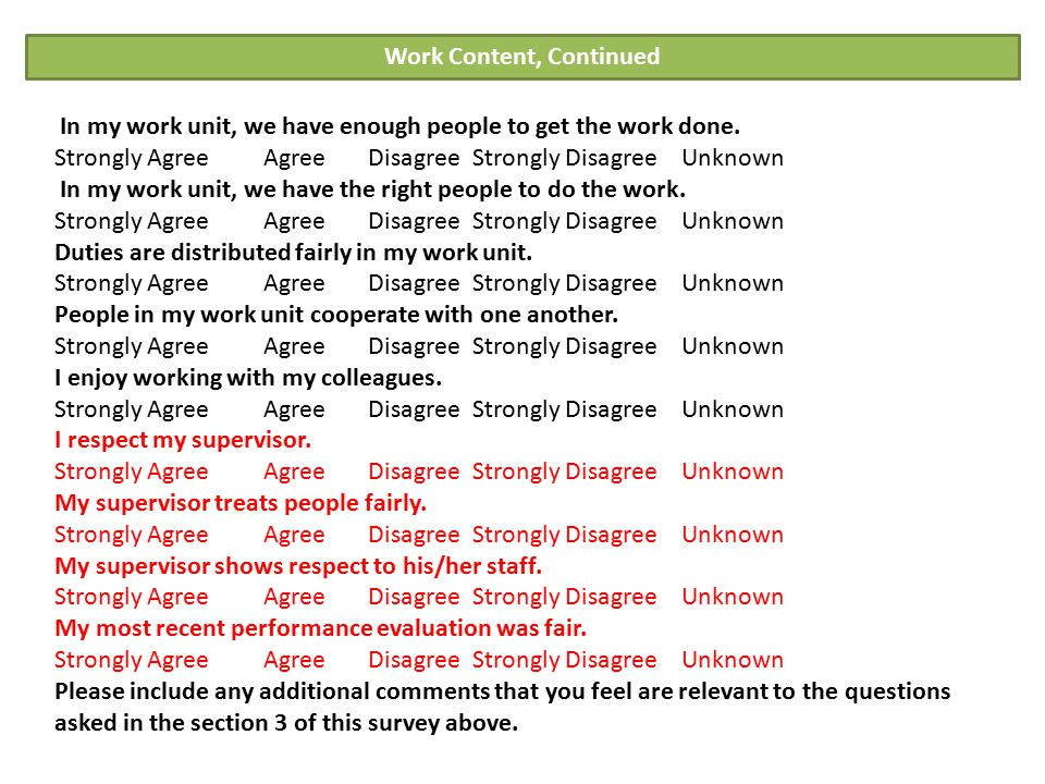 Work Content The work I do is meaningful to me. Strongly Agree Agree Disagree Strongly Disagree Unknown Overall, I like the work I do. Strongly Agree