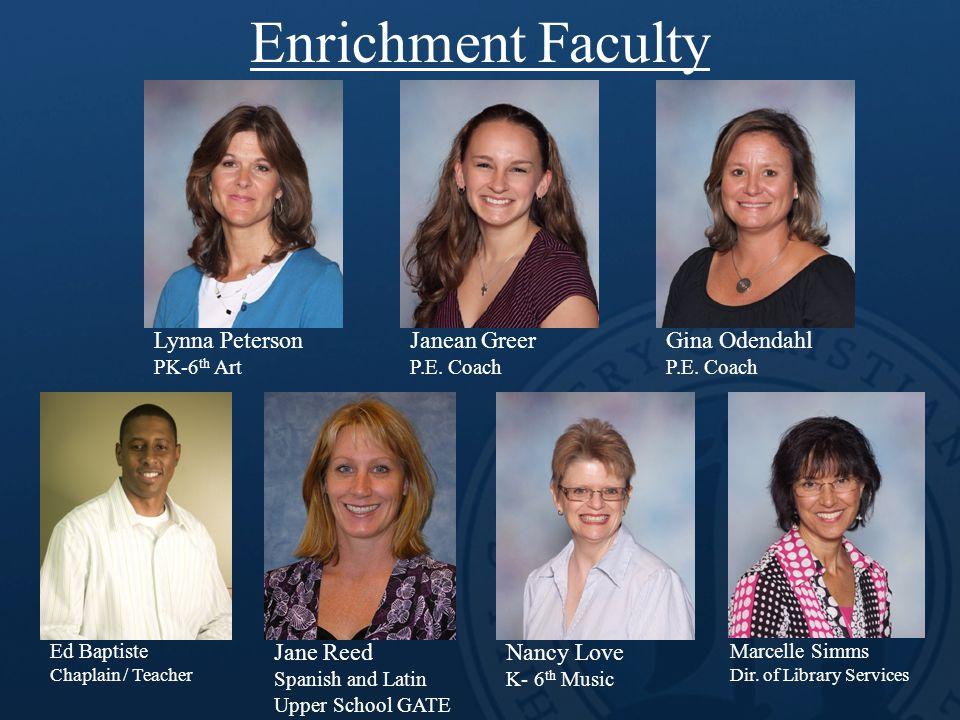 Enrichment Faculty Lynna Peterson PK-6 th Art Gina Odendahl P.E. Coach Janean Greer P.E. Coach Ed Baptiste Chaplain / Teacher Jane Reed Spanish and La